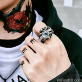 AllBestOf.com JEWELS 7 / white colour Rock Claw with three Zircon stone evil eye CZ ring men anniversary Biker jewelry Gift