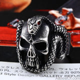 AllBestOf.com JEWELS 7 / White Retro Style Stainless Steel Vintage Snake Ring With Red Stone Devil Skull Biker Exquisite Jewelry For Man