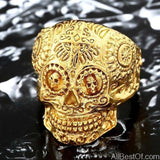 AllBestOf.com JEWELS 8 / all gold Stainless Steel Gem Ring Cross Skull Biker Men Ring hot sale Man's Fashion Jewelry