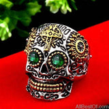 AllBestOf.com JEWELS 8 / part gold green eye Stainless Steel Gem Ring Cross Skull Biker Men Ring hot sale Man's Fashion Jewelry