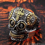 AllBestOf.com JEWELS 8 / part gold Stainless Steel Gem Ring Cross Skull Biker Men Ring hot sale Man's Fashion Jewelry