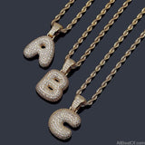 AllBestOf.com JEWELS A-Z Custom Name Bubble Letters Necklaces & Pendant Charm For Gold Silver Color Cubic Zirconia Hip Hop Jewelry