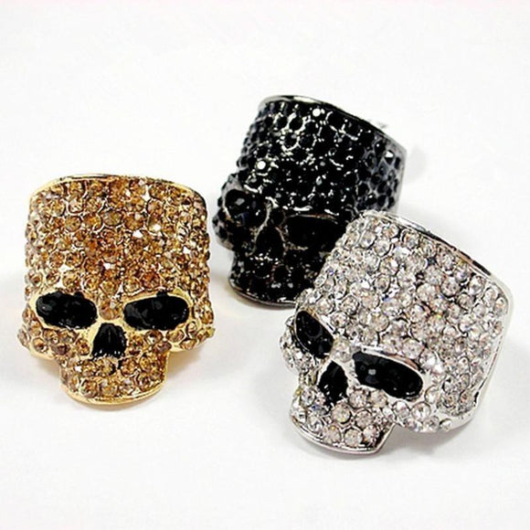 AllBestOf.com JEWELS Brand Skull Rings For Men Rock Punk Unisex Crystal Black/Gold Color Biker Ring Male Fashion Skull Jewelry