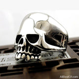 AllBestOf.com JEWELS Cool Stainless Steel Rings For Men Trendy Smooth Polishing Big Tripple Skull Ring Punk Biker Jewelry
