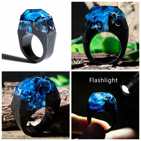 AllBestOf.com JEWELS Fashion Resin Ring Forest Handmade Rainbow Star Secret Sky Micro Landscape Ring High Quality Jewelry