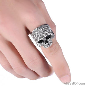AllBestOf.com JEWELS Fashion Rock Punk Gold Silver Black Crystal Skull Ring Jewelry Gothic Biker Rings Party Gift