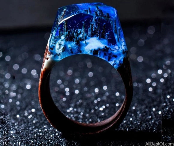 AllBestOf.com JEWELS Handmade Wood Resin Stone Ring With Magnificent Fantasy Secret Magic Landscape Wooden Rings
