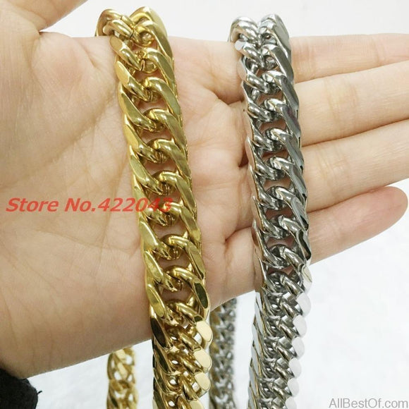 AllBestOf.com JEWELS Men's 14MM Thick Chain Necklace Fashion Silver Or Gold 316L Stainless Steel Link Cuban Curb Chain Necklace For Men Neck Jewelry