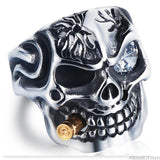 AllBestOf.com JEWELS Men's Skull Biker Skeleton Rings Stainless Steel With Crystal Jewelry