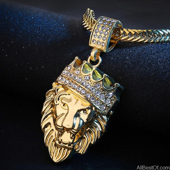 AllBestOf.com JEWELS Mens Full Iced Rhinestone An crown Lion Tag necklaces pendants Hip hop Cuban Gold Jewelry