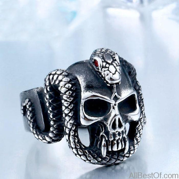 AllBestOf.com JEWELS Retro Style Stainless Steel Vintage Snake Ring With Red Stone Devil Skull Biker Exquisite Jewelry For Man