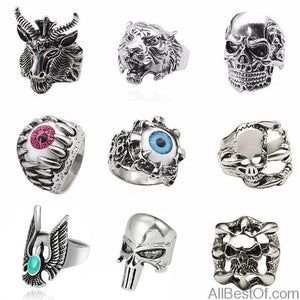 AllBestOf.com JEWELS Tiger Jewelry Vintage Punk Steampunk Hollow Rings Of Anime Skull Hip Hop