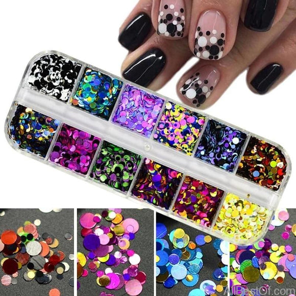 1 Set Ultrathin Sequins Nail Art Glitter Mini Paillette Colorful Round 3D Nail Decorations Mixed Size Manicure Accessories - AllBestOf.com