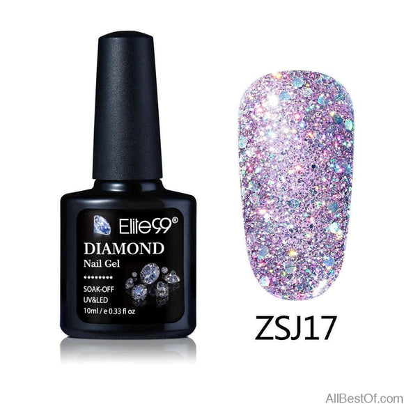 10ML Diamond Nail Gel Glitter LED UV Gel Manicure Shiny Sequins Soak Off - AllBestOf.com
