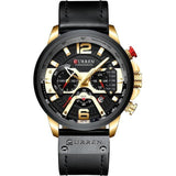 AllBestOf.com Men gold black watch Sport Watches Blue Top Brand Luxury Leather Chronograph Wristwatch
