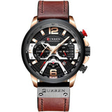 AllBestOf.com Men rose black watch Sport Watches Blue Top Brand Luxury Leather Chronograph Wristwatch