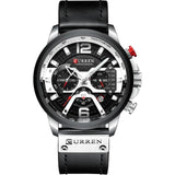 AllBestOf.com Men silver black watch Sport Watches Blue Top Brand Luxury Leather Chronograph Wristwatch