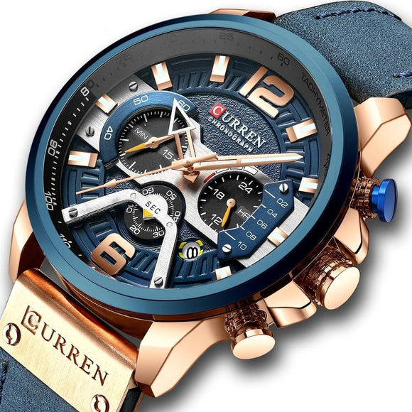 AllBestOf.com Men Sport Watches Blue Top Brand Luxury Leather Chronograph Wristwatch
