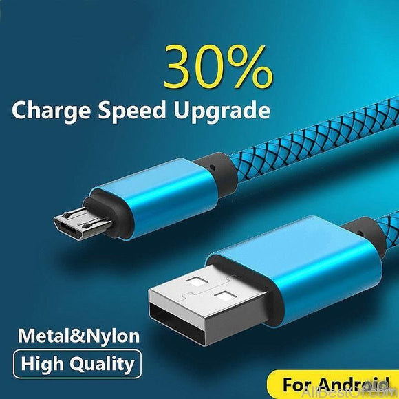 Micro USB Cable 0.25, 1, 2, 3M Fast Charging Nylon USB Sync Data Mobile Phone Android Adapter Charger Cable for Samsung Sony HTC LG - AllBestOf.com