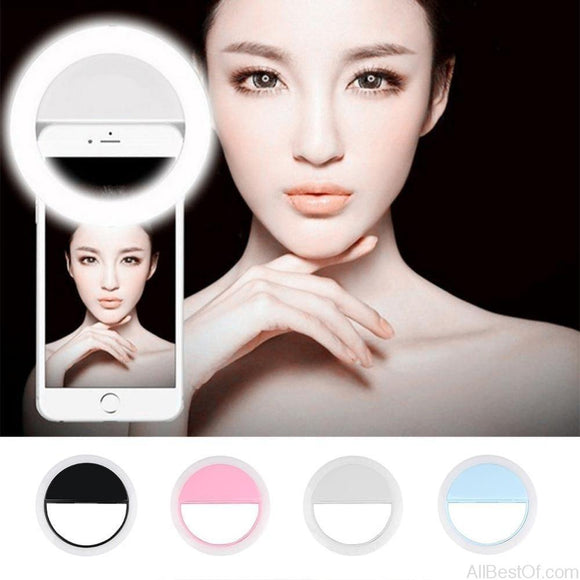 AllBestOf.com Phone Selfie LED Ring Light Lenses Lamp for IPhone 6 6s 7 7Plus 8 8Plus X For Samsung Xiaomi and All Compatibles Brands