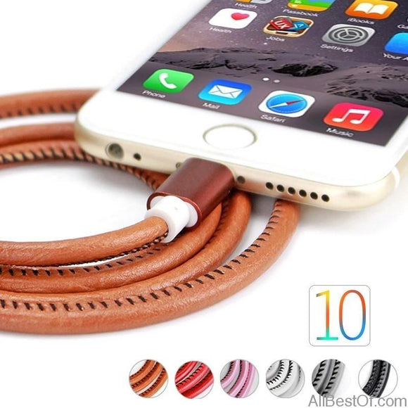 AllBestOf.com Phone USB Cables for Iphone X 8 7 6 Plus 6s 5 5s Se Ipad 2 Mini 1M Fashion PU Leather Braided Fast Charging Cables