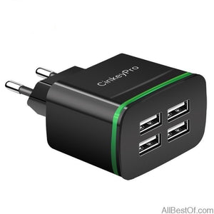 USB Charger for iPhone Samsung Android 4-Ports Mobile Phone Universal Fast Charge LED Light  Wall Adapter - AllBestOf.com