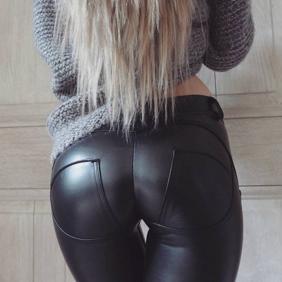 AllBestOf.com SPORT Faux Pu Leather Leggings Thick/Black/Push Up/High Waist Sexy Pants