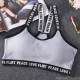 AllBestOf.com SPORT Gray Letter Sports Bra Top Push Up Fitness Running Yoga Gym Bra Sportswear