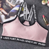 AllBestOf.com SPORT Pink Letter Sports Bra Top Push Up Fitness Running Yoga Gym Bra Sportswear