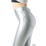 AllBestOf.com SPORT Silver / L Faux Pu Leather Leggings Thick/Black/Push Up/High Waist Sexy Pants