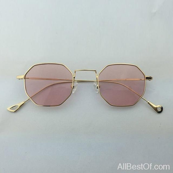 AllBestOf.com SUNGLASSES 2 Hexagon Sunglasses Unisex Brand Designer Blue Pink Clear Lens UV400