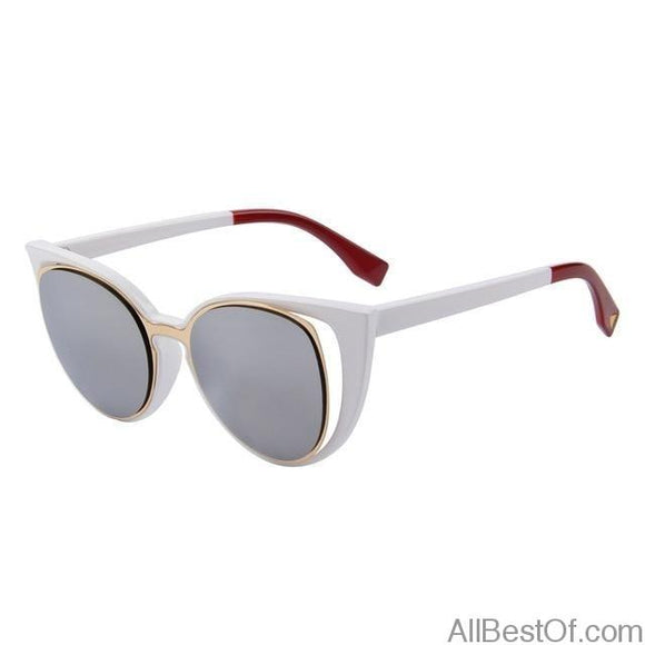 AllBestOf.com SUNGLASSES C03 White Fashion Cat Eye Sunglasses Women Brand Designer Retro Pierced UV400