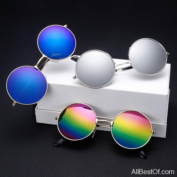 AllBestOf.com SUNGLASSES Fashion Round Metal Frame Sunglasses Men Women Retro Classic Mirror Circle Muti-Colors