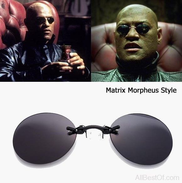 AllBestOf.com SUNGLASSES Fashion The Matrix Morpheus Style Round Rimsless Sunglasses Men Brand Design Clamp Nose