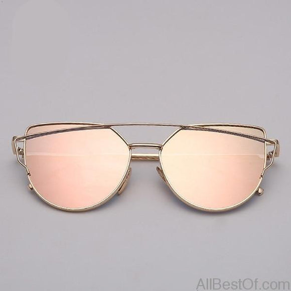 AllBestOf.com SUNGLASSES gold pink Brand Designer Cat eye Sunglasses Women Vintage Metal Reflective Glasses For Women Mirror Retro