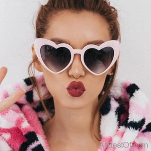 AllBestOf.com SUNGLASSES Love heart sunglasses women cat eye vintage Christmas gift black pink red heart shape UV400