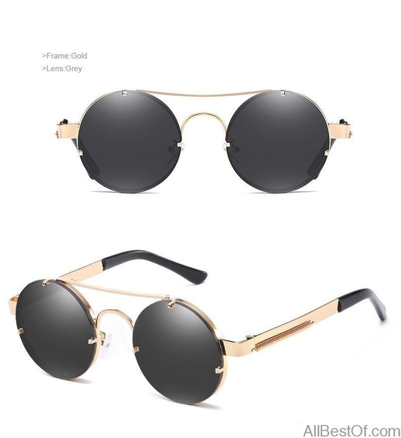AllBestOf.com SUNGLASSES New Retro Round Steampunk Sunglasses Unisex Luxury Big Mirror Lens UV400