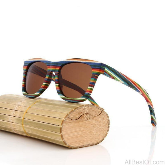 AllBestOf.com SUNGLASSES Original Wooden Bamboo Sunglasses Unisex Mirrored UV400
