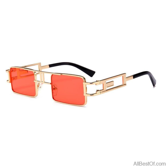 AllBestOf.com SUNGLASSES Rectangular Sunglasses Steampunk Unisex Metal Frame Gold Black Red Flat Top Square UV400