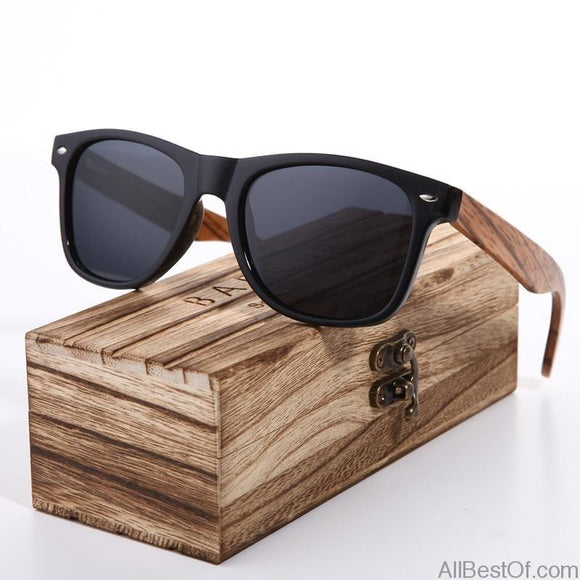 AllBestOf.com SUNGLASSES Sunglasses Polarized Zebra Wood Hand Made Vintage Wooden Frame With Box UV400