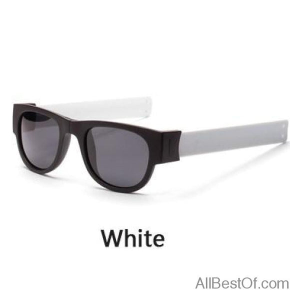 AllBestOf.com SUNGLASSES White Mini Folding Polarized Sunglasses Cool Trendy Outdoor Sport Slap Sunglasses UV400