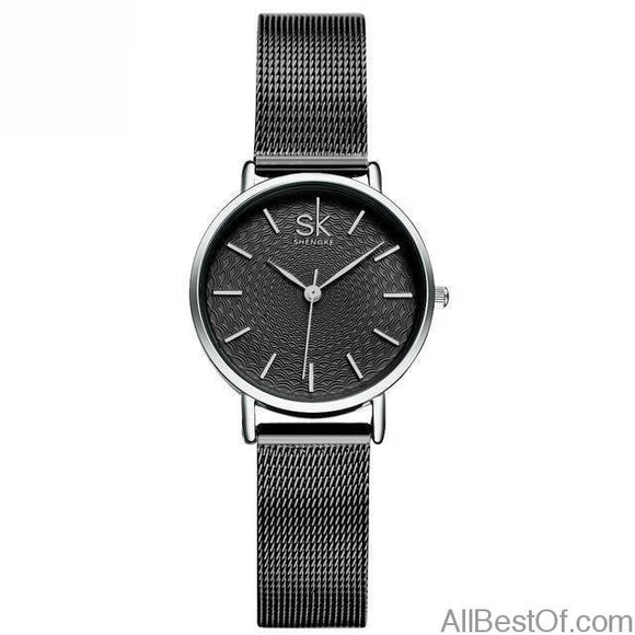 Super Slim Silver Mesh Stainless Steel Watches Women Top Brand Luxury Clock Ladies Wrist Watch - AllBestOf.com
