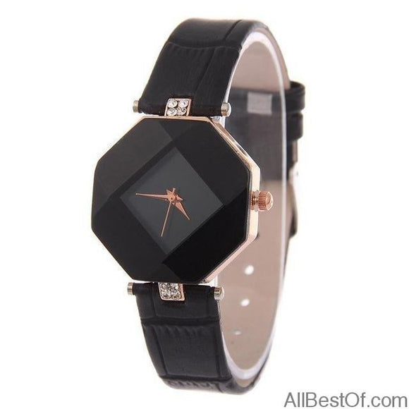 Women Watches Gem Cut Geometry Crystal Leather Quartz Wristwatch - AllBestOf.com