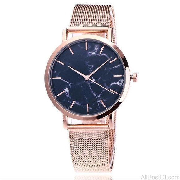 Brand Fashion Silver And Gold Mesh Band Creative Marble WristWatch Casual Women Watches - AllBestOf.com