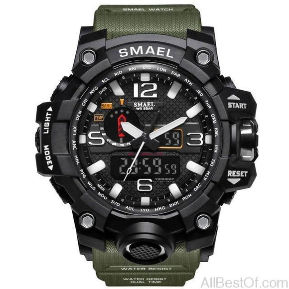Men Military Watch 50m Waterproof Wristwatch LED Quartz Clock Sport S Shock Watch - AllBestOf.com