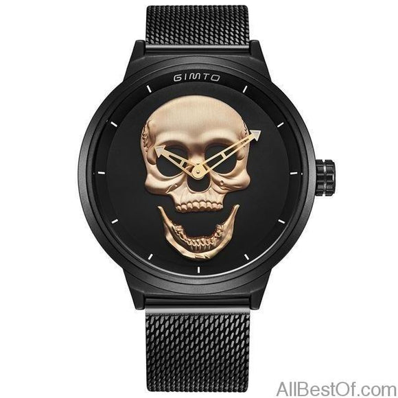 Cool Punk 3D Skull Watch Brand Luxury Steel Gold Vintage Quartz Sport Clock - AllBestOf.com
