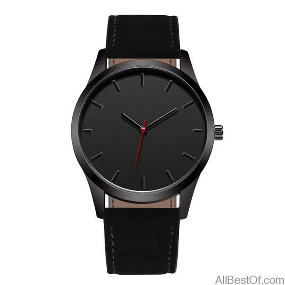 Fashion Large Dial Quartz Watch Leather Band High Quality Clock Wristwatch - AllBestOf.com