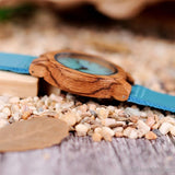Lovers Wood Watches Turquoise Blue Leather Strap Natural Wooden Unisex Watch Timepieces in Gift Box - AllBestOf.com