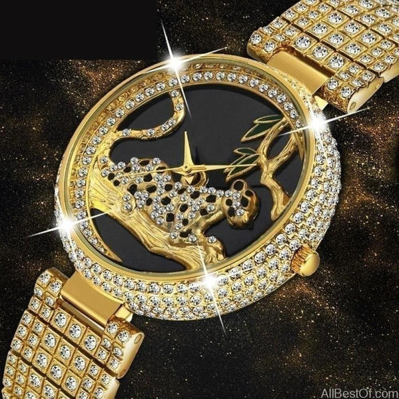 AllBestOf.com WATCHES Luxury Brand Style Black Leopard Gold Watch Diamond Top Brand