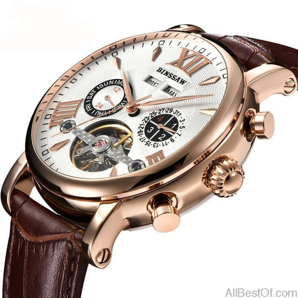 Men Tourbillon Full-automatic Mechanical Watch Luxury Fashion Brand Calendar Week Multifunctional Watches - AllBestOf.com